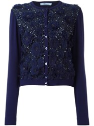 Blumarine Sequined Floral Applique Cardigan Blue