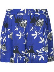 Markus Lupfer Printed High Waisted Shorts Blue
