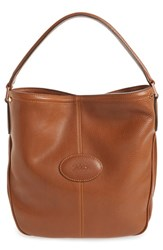 Longchamp 'Mystery' Leather Hobo Brown Cognac