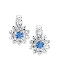 Carolee Something Blue Floral Cluster Clip On Earrings Silver