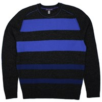 Lords Of Harlech Dave Striped Crewneck Sweater In Grey Grey Blue