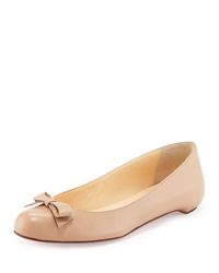 Christian Louboutin Simplenodo Red Sole Bow Flat Nude Brown