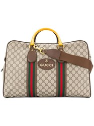 Gucci Gg Supreme Duffle Bag With Web Nude And Neutrals