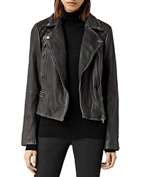 Allsaints Cargo Quilted Leather Biker Jacket Black Gray