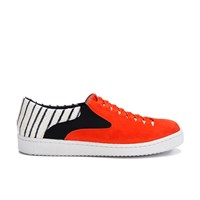 Thakoon Addition Women's Warwick 01 Woven Suede Slip On Trainers Poppy Orange