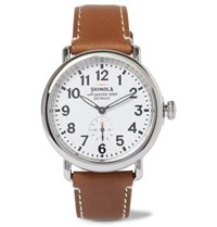 Shinola The Runwell Stainless Steel And Leather Watch Tan