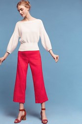 Anthropologie Linen Crop Flares Pink