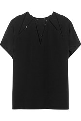 Raoul Jackie Tulle Trimmed Silk Top Black
