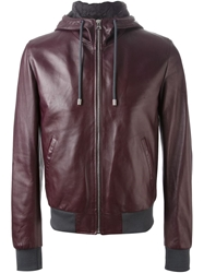 Dolce And Gabbana Leather Hooded Jacket Red