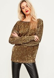 Missguided Gold Sequin V Back Oversized Top