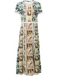 Burberry Framed Heads And Reclining Figures Print Dress Brown