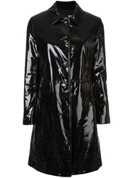 Love Moschino Varnished Effect Buttoned Coat Black