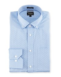 Neiman Marcus Trim Fit Textured Stripe Dress Shirt Blue