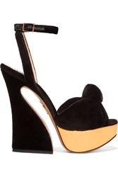 Charlotte Olympia Vreeland Velvet And Metallic Leather Platform Sandals Black