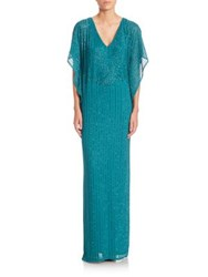 Aidan Mattox Short Sleeve Beaded Kaftan Gown Jade