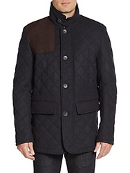 Vince Camuto Quilted Wool Blend Coat Charcoal