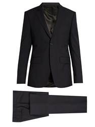 Givenchy Notch Lapel Single Breasted Wool Suit Navy