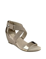 Anne Klein Crisscross Ankle Strap Wedge Heel Sandals Bronze
