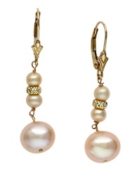 Effy 14 Kt. Yellow Gold Freshwater Peach Pearl Drop Earrings