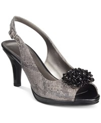 Karen Scott Briant Embellished Peep Toe Pumps Only At Macy's Women's Shoes Pewter