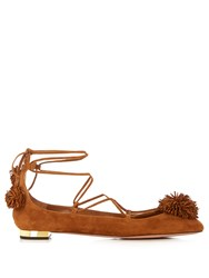 Aquazzura Sunshine Suede Fringed Flats Tan