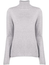 Majestic Filatures Knitted Turtle Neck Jumper Grey