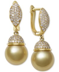Macy's Cultured Golden South Sea Pearl 9Mm And Diamond 5 8 Ct. T.W. Drop Earrings In 14K Gold Yellow Gold