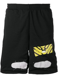Off White Perforated Shorts Black
