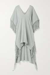 Caravana Butub Asymmetric Fringed Cotton Gauze Dress Light Gray