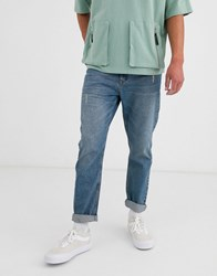 Brooklyn Supply Co. Co Relaxed Skate Fit Jeans With Abrasions In Blue Wash
