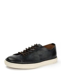 Frye Gates Perforated Logo Leather Low Top Sneaker Black