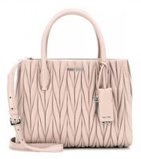 Miu Miu Matelasse Leather Tote Pink
