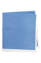 Calibrate Men's Geometric Cotton And Silk Pocket Square Royal