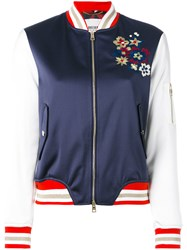 Bazar Deluxe Floral Embroidery Bomber Jacket Blue