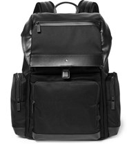 Montblanc Nightflight Leather Trimmed Canvas Backpack Black