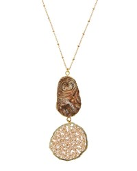 Panacea Iridescent Druzy Pendant Necklace Multi