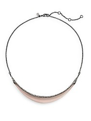 Alexis Bittar Lucite And Swarovski Crystal Crescent Collar Necklace Rose Grey