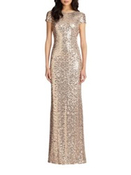 Badgley Mischka Sequin Cowl Back Gown Blue Grey