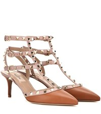 Valentino Rockstud Leather Kitten Heel Pumps Brown