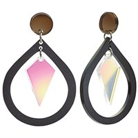 Toolally Pear And Diamond Shaped Drop Earrings Black Iridescent Pink