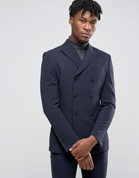 Asos Super Skinny Double Breasted Suit Jacket Navy