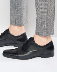 Red Tape Etched Oxford Shoes In Black Leather Black
