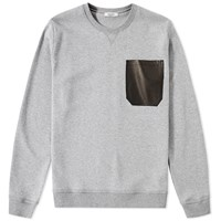 Valentino Leather Pocket Crew Sweat Grey
