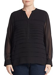 Calvin Klein Plus Size Pleated Chiffon Blouse Black