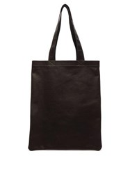 Rick Owens Logo Embroidered Leather Tote Bag Black