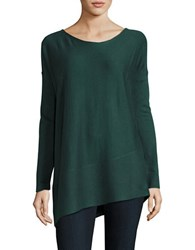 Splendid Asymmetric Hem Scoopneck Sweater Dark Pine