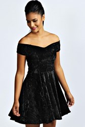 Boohoo Velvet Skater Dress Black