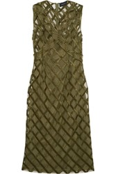 Simone Rocha Embroidered Layered Tulle Midi Dress Army Green