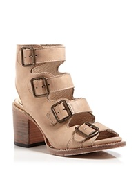 Freebird By Steven Sandals Qual Multi Buckle Mid Heel Taupe