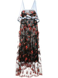 Philosophy Di Lorenzo Serafini Sleeveless Floral Embroidered Dress Black